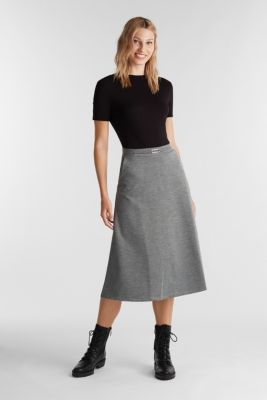 Jersey skirt with stretch for comfort, GUNMETAL 5, detail