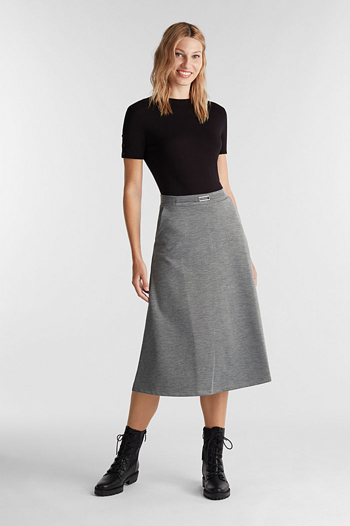 Jersey skirt with stretch for comfort, GUNMETAL, detail image number 1