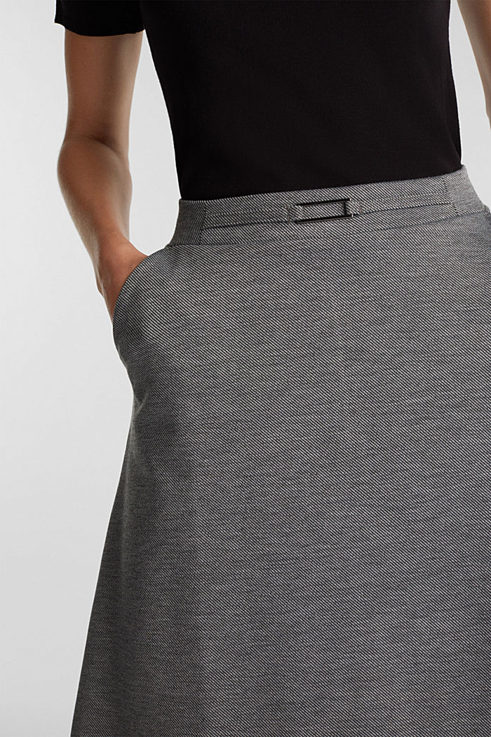 Jersey skirt with stretch for comfort, GUNMETAL, detail image number 2
