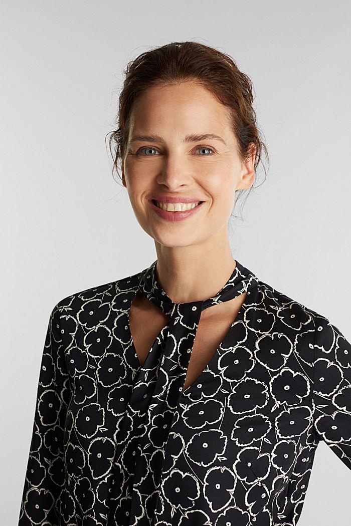 Modern, printed LENZING™ ECOVERO™ dress, BLACK, detail image number 4
