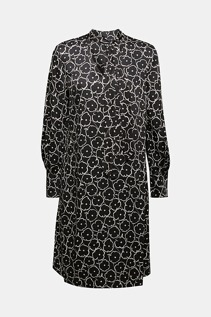 Modern, printed LENZING™ ECOVERO™ dress, BLACK, detail image number 5
