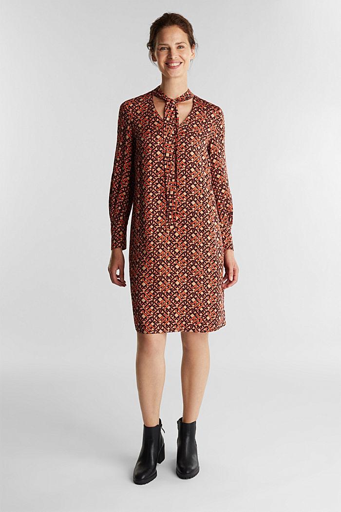 Modern, printed LENZING™ ECOVERO™ dress, CAMEL, detail image number 0