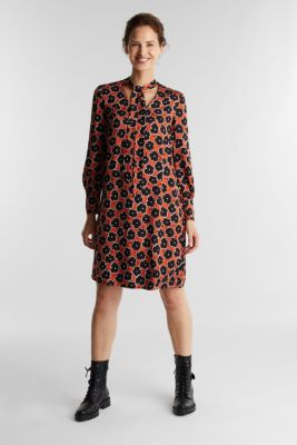 Modern, printed LENZING™ ECOVERO™ dress, ORANGE 4, detail