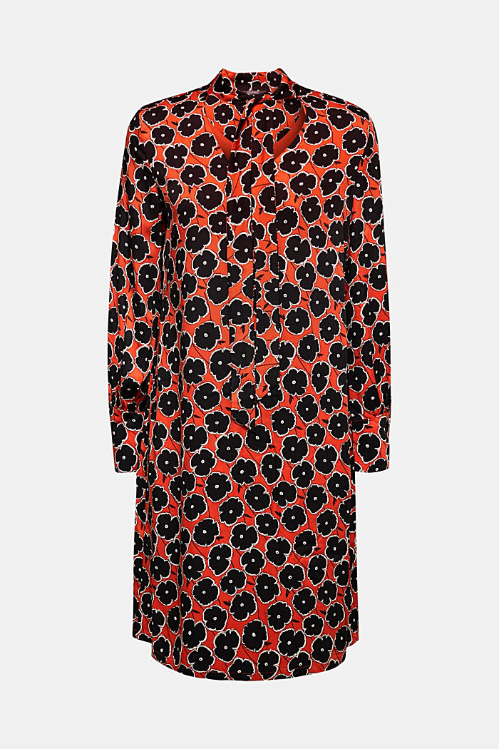 Modern, printed LENZING™ ECOVERO™ dress, ORANGE, overview