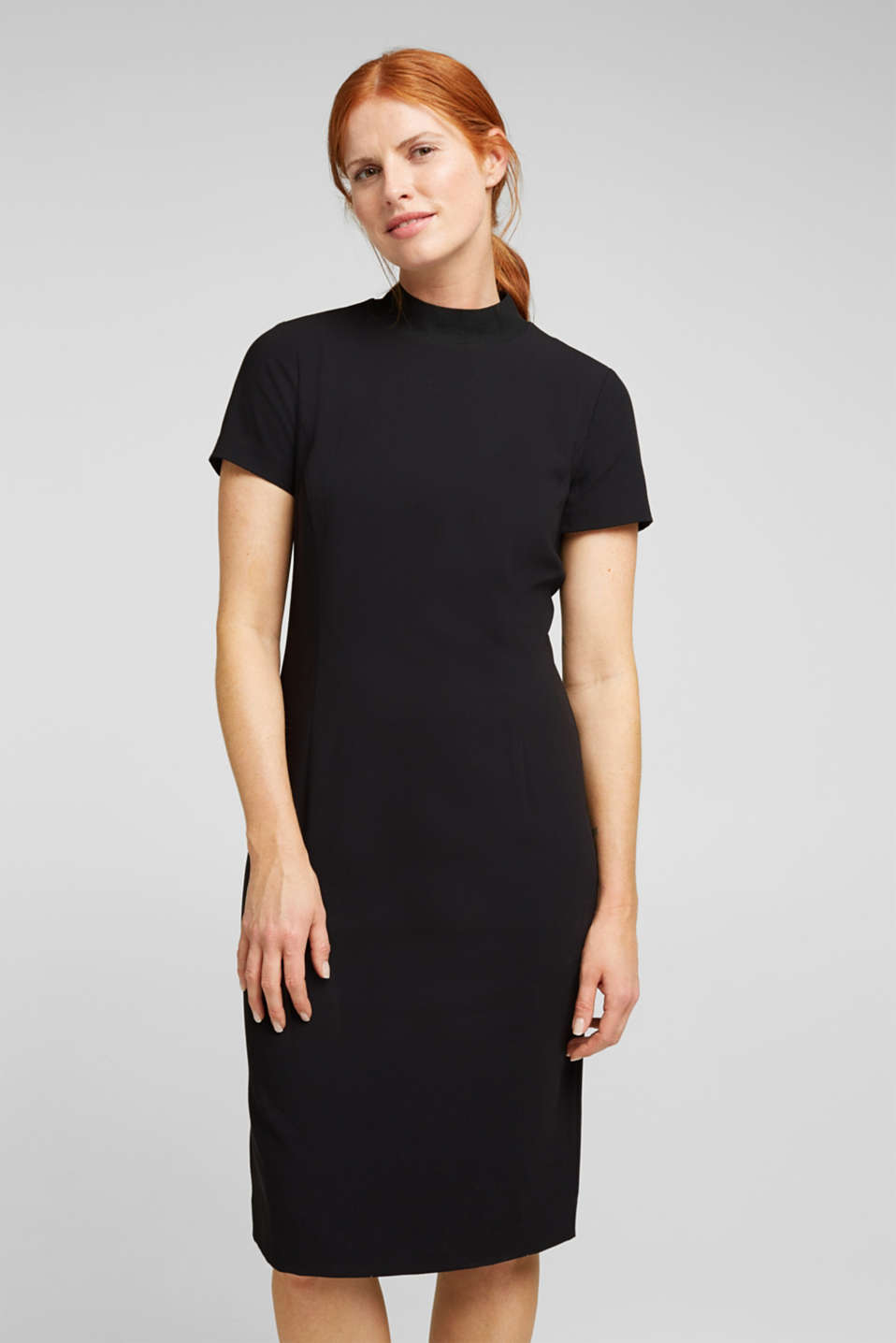 Esprit - Recycled: fitted dress with a stand-up collar