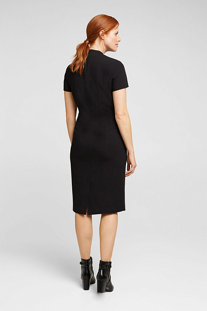 Recycled: fitted dress with a stand-up collar, BLACK, detail image number 2