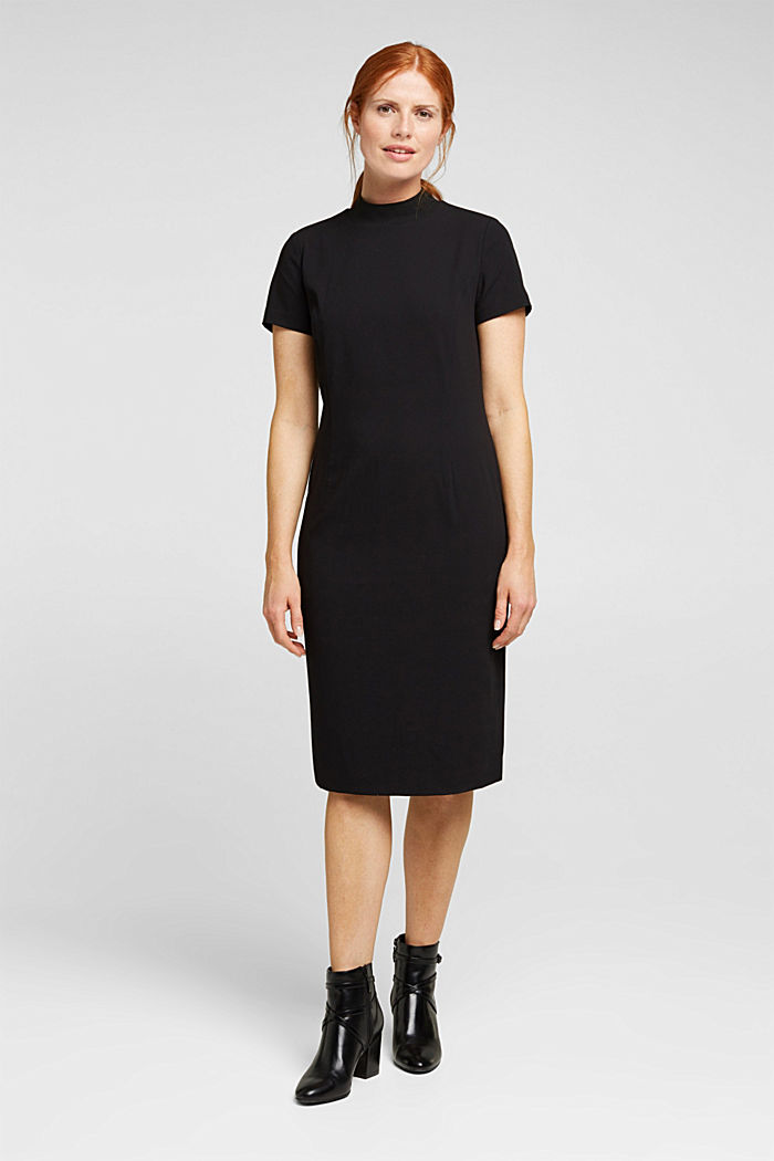 Recycled: fitted dress with a stand-up collar, BLACK, detail image number 1