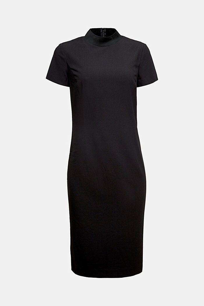 Recycled: fitted dress with a stand-up collar, BLACK, detail image number 6
