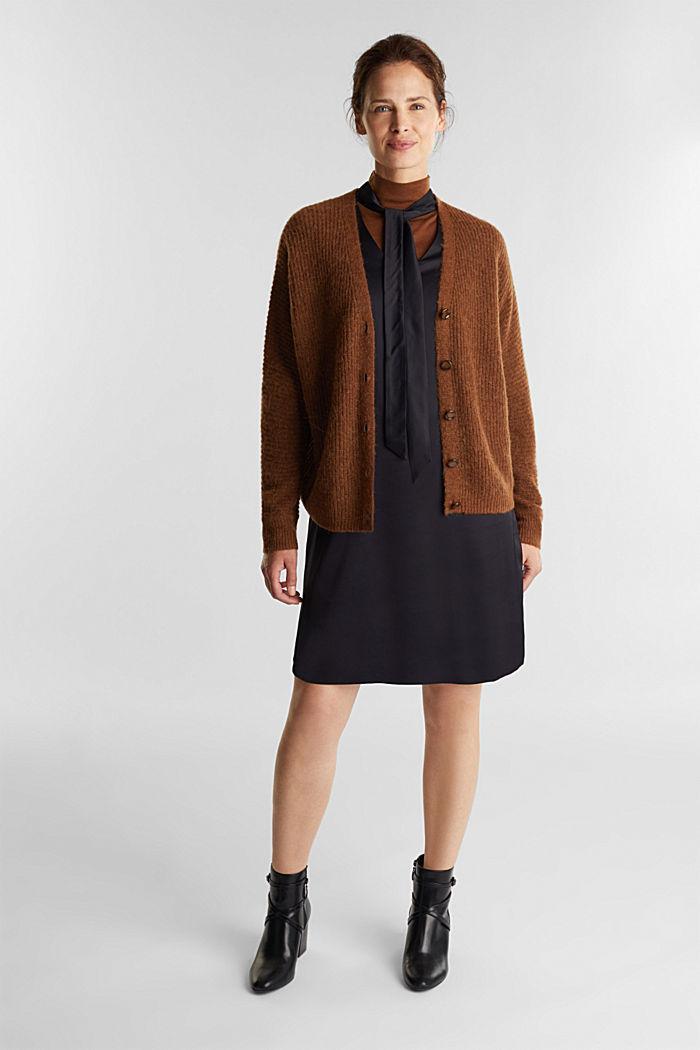 Satin-Kleid aus LENZING™ ECOVERO™, BLACK, detail image number 1