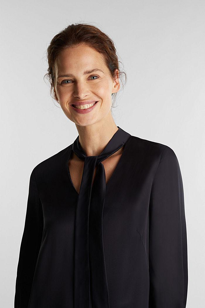 Satin-Kleid aus LENZING™ ECOVERO™, BLACK, detail image number 5