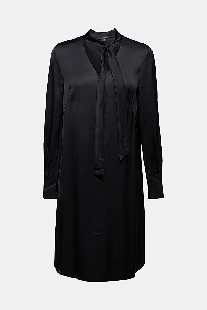 Satin-Kleid aus LENZING™ ECOVERO™, BLACK, detail image number 6