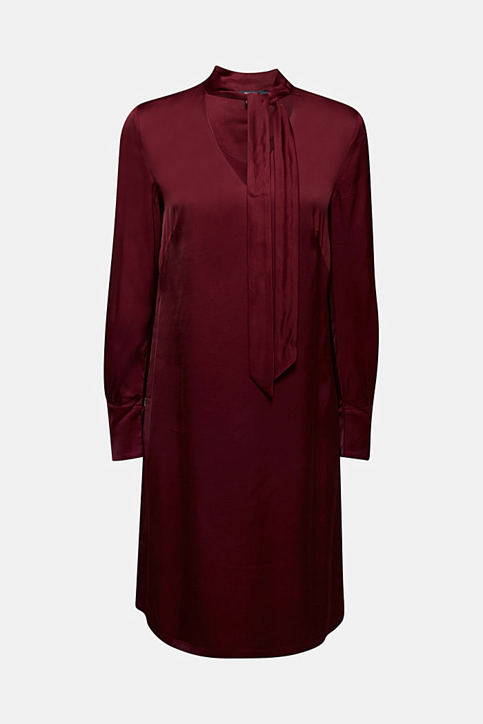 Satin dress made of LENZING™ ECOVERO™, BORDEAUX RED, detail image number 5
