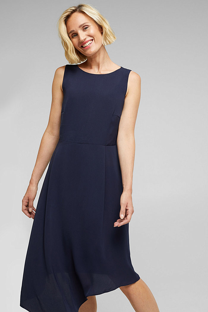Recycled: dress with an asymmetric hem, NAVY, detail image number 0