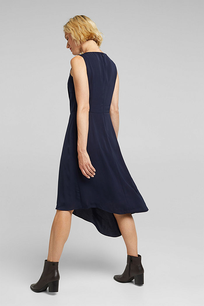 Recycled: dress with an asymmetric hem, NAVY, detail image number 2