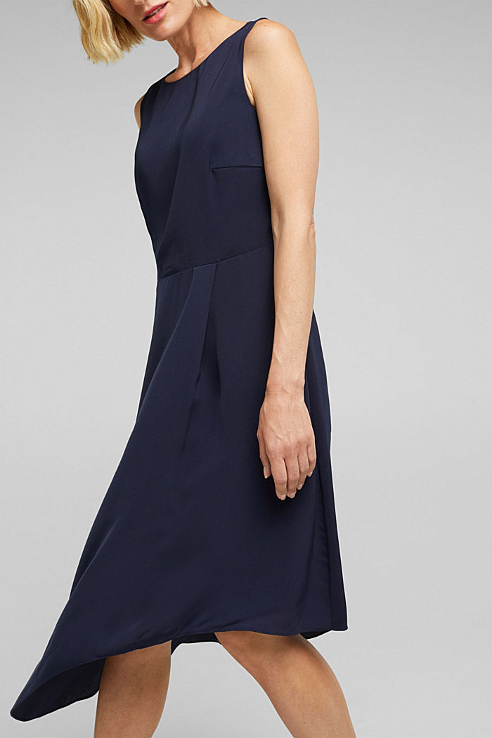 Recycled: dress with an asymmetric hem, NAVY, detail image number 5