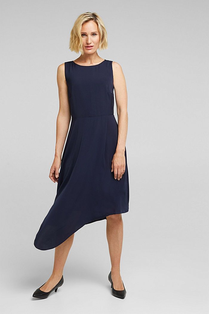 Recycled: dress with an asymmetric hem, NAVY, detail image number 1