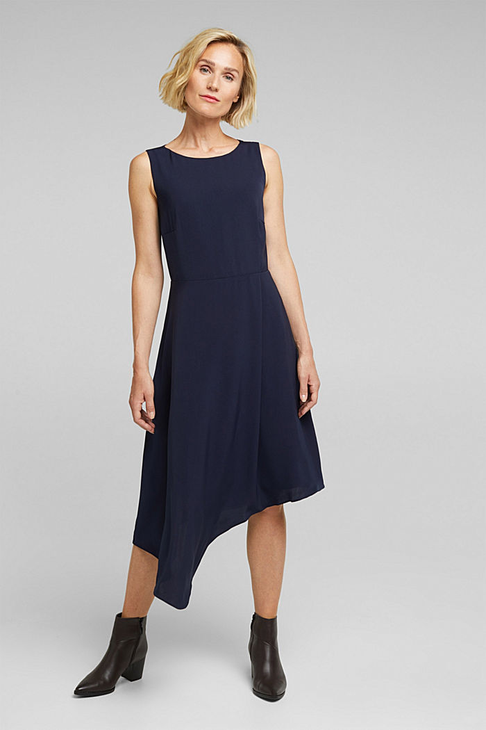 Recycled: dress with an asymmetric hem, NAVY, detail image number 7