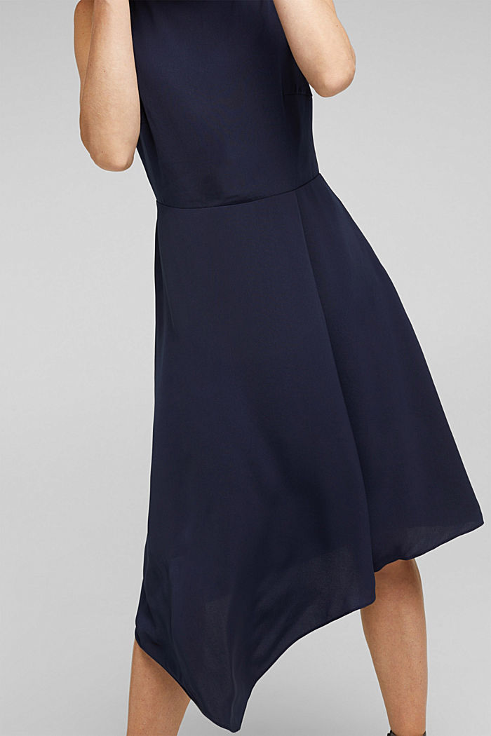 Recycled: dress with an asymmetric hem, NAVY, detail image number 3