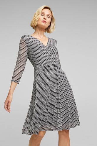 Wrap-effect mesh dress