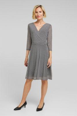 Wrap-effect mesh dress, BLACK 3, detail