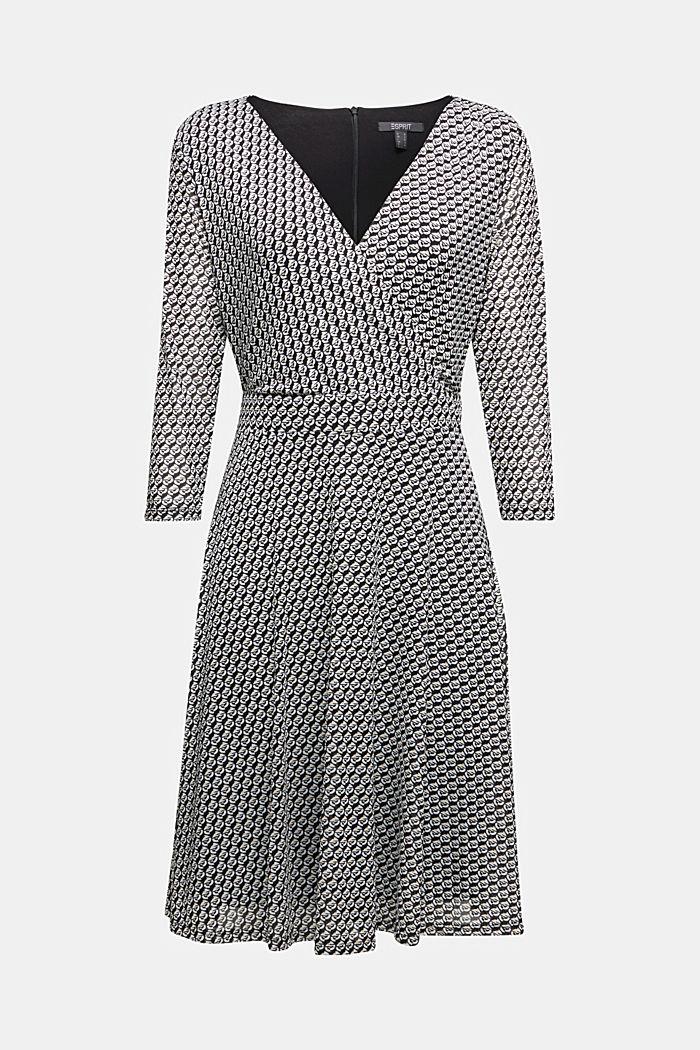 Wrap-effect mesh dress, BLACK, detail image number 6
