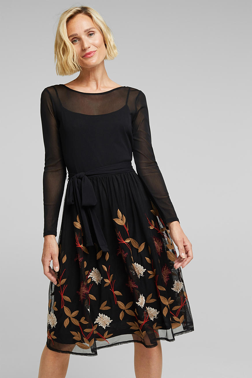 Mesh dress with floral embroidery