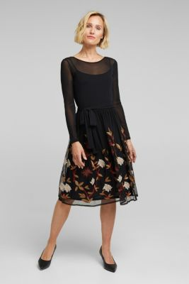 Mesh dress with floral embroidery, BLACK, detail