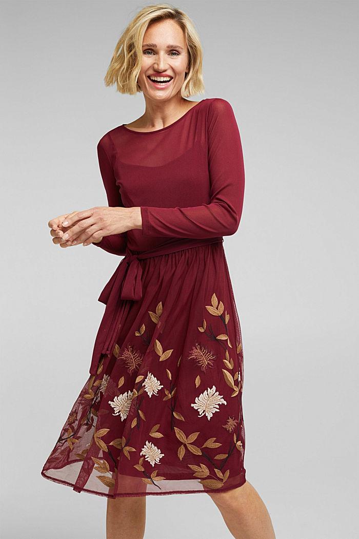 Mesh-Kleid mit Blüten-Stickerei, BORDEAUX RED, detail image number 0