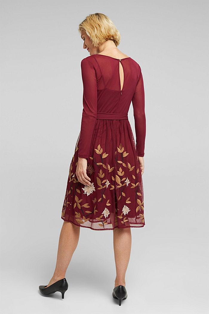 Mesh-Kleid mit Blüten-Stickerei, BORDEAUX RED, detail image number 2