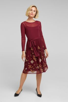 Mesh dress with floral embroidery, BORDEAUX RED, detail