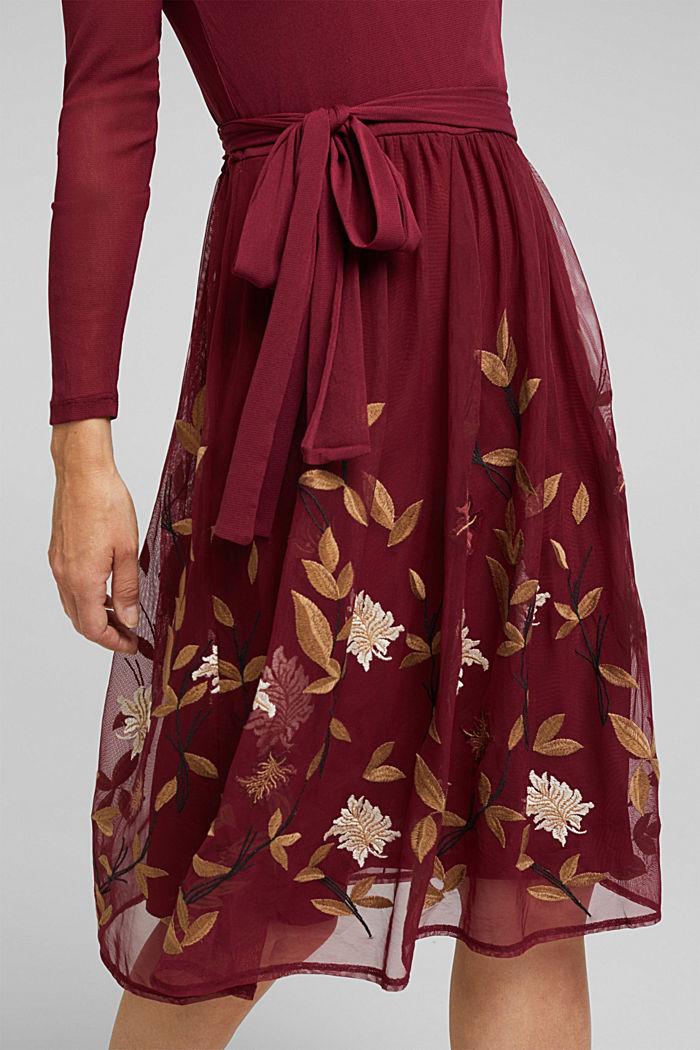 Mesh-Kleid mit Blüten-Stickerei, BORDEAUX RED, detail image number 3