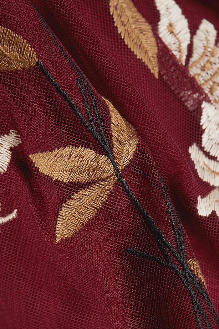 Mesh-Kleid mit Blüten-Stickerei, BORDEAUX RED, detail image number 4