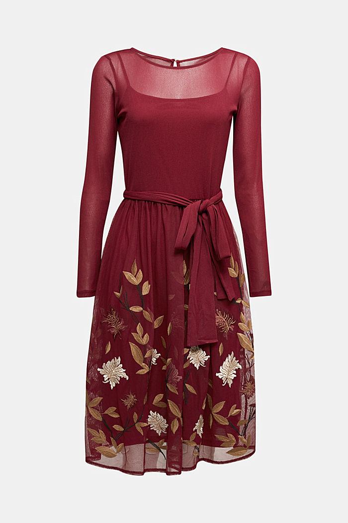 Mesh-Kleid mit Blüten-Stickerei, BORDEAUX RED, detail image number 5