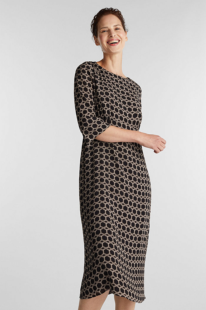 Midi dress with chain print, BLACK, detail image number 0