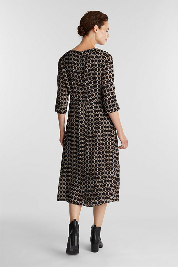 Midi dress with chain print, BLACK, detail image number 2
