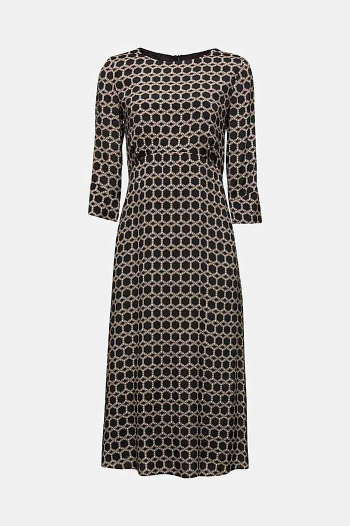 Midi dress with chain print, BLACK, detail image number 4