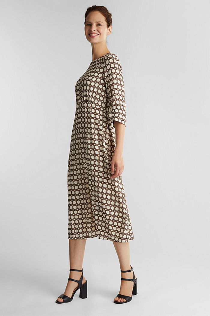 Midi dress with chain print, SAND, detail image number 1