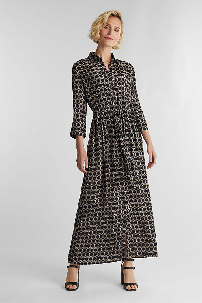 Maxi dress in a shirt blouse style, BLACK, detail image number 0