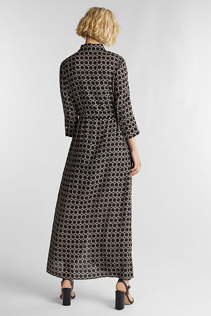 Maxi dress in a shirt blouse style, BLACK, detail image number 2
