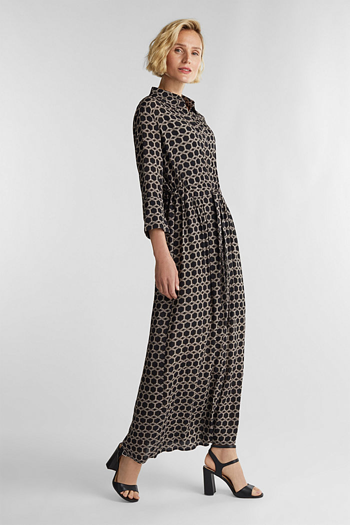Maxi dress in a shirt blouse style, BLACK, detail image number 1