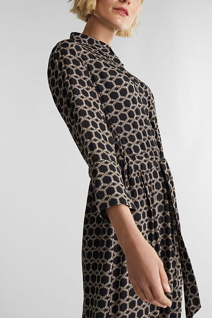 Maxi dress in a shirt blouse style, BLACK, detail image number 3