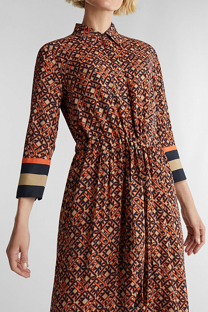 Maxi dress in a shirt blouse style, CAMEL, detail image number 3