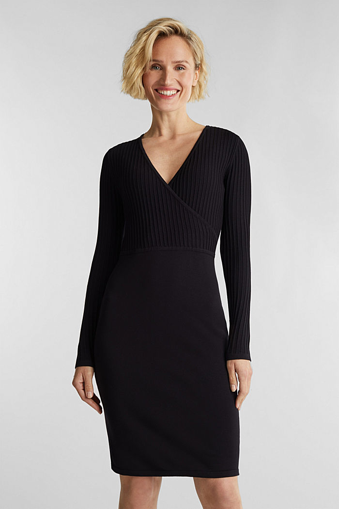 Knit dress with LENZING™ ECOVERO™, BLACK, detail image number 0