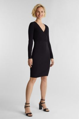 Knit dress with LENZING™ ECOVERO™, BLACK, detail
