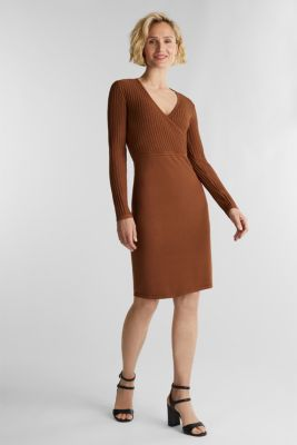 Knit dress with LENZING™ ECOVERO™, TOFFEE, detail