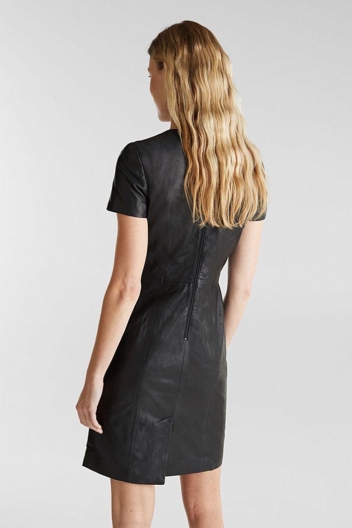 Lamb leather sheath dress, BLACK, detail image number 2
