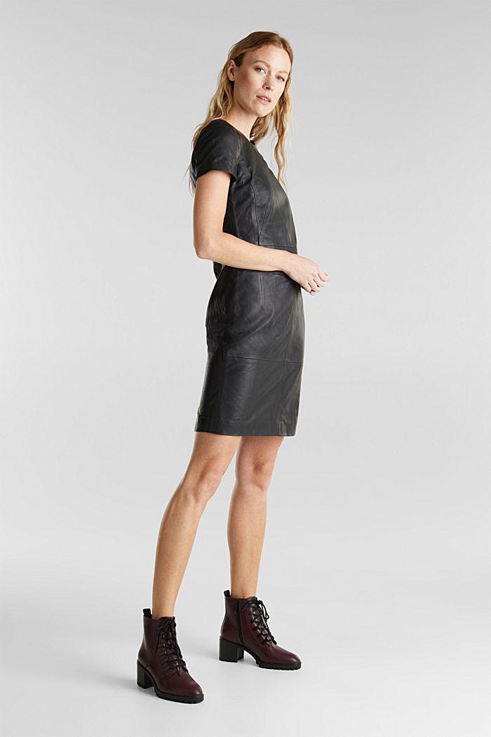 Lamb leather sheath dress, BLACK, detail image number 5