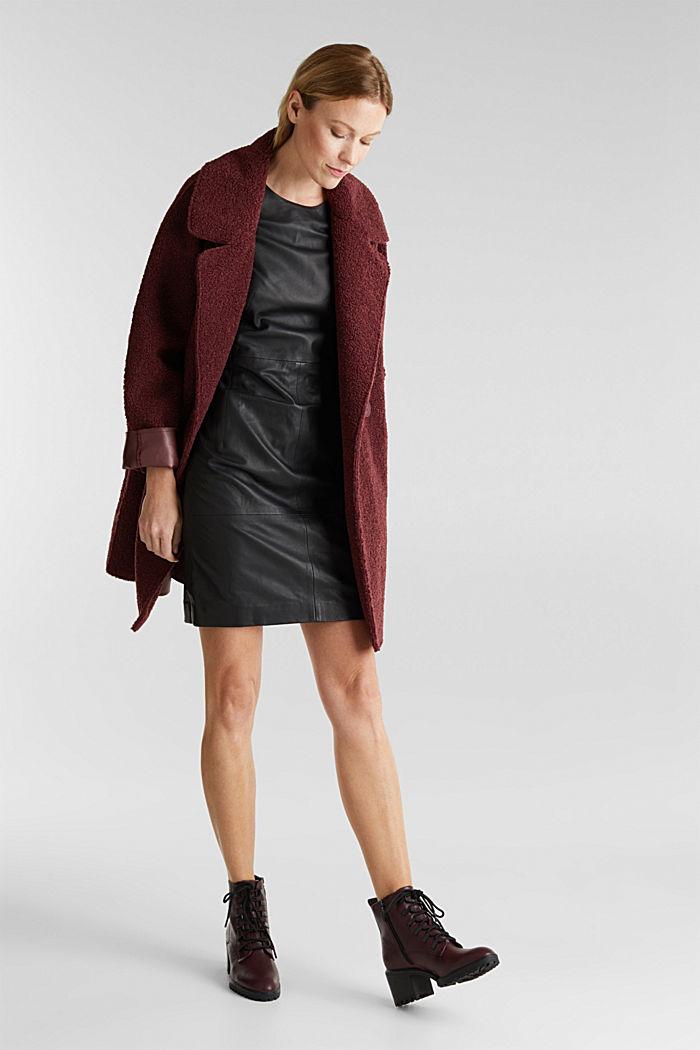Lamb leather sheath dress, BLACK, detail image number 1