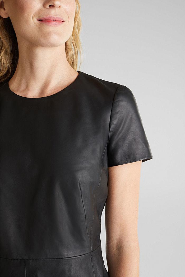 Lamb leather sheath dress, BLACK, detail image number 3