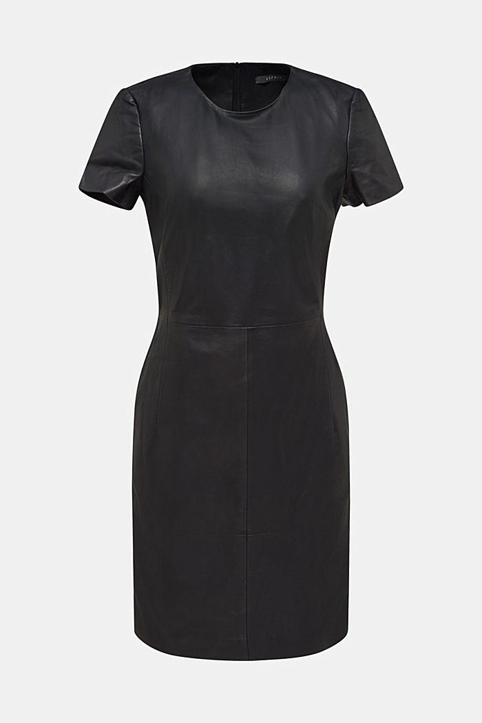 Lamb leather sheath dress, BLACK, detail image number 6